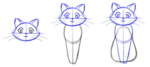 Draw a cat - steps 4 - 6