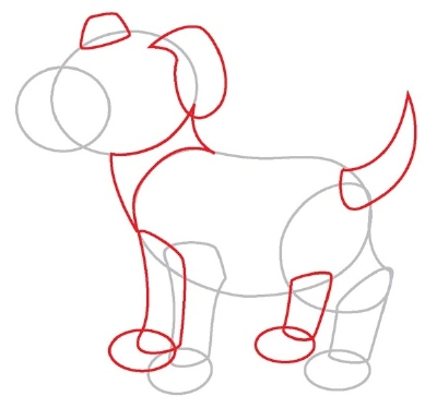 Follow the lines to draw the dog