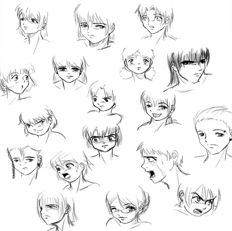How to draw - Learn how to draw anime faces and face expressions
