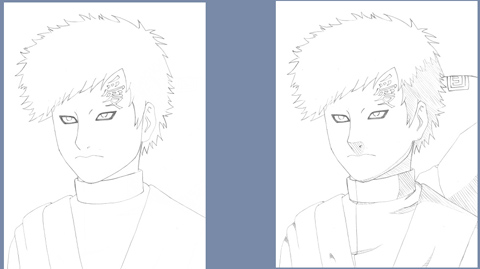 Gaara drawing guide - steps 5-6