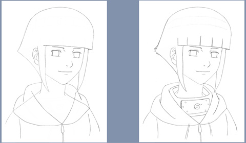 Learn to draw Hinata - steps 5 and 6