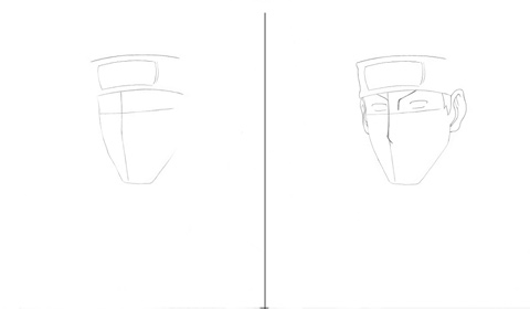 How to draw Kakashi - steps 1 and 2