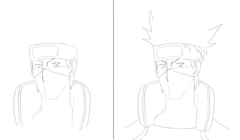 How to draw Kakashi - steps 3 and 4