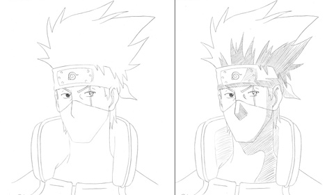 How to draw Kakashi - steps 5 and 6