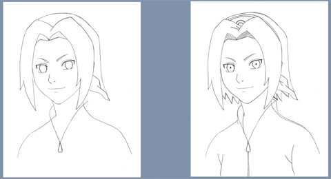 How to draw Sakura - steps 5 and 6