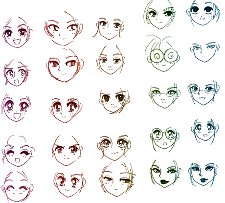 Lots of manga faces - learn how to draw them