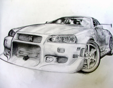 Draw a race car