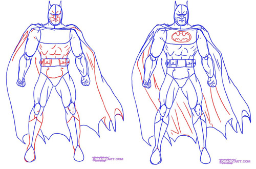 Draw Batman - step 3-4