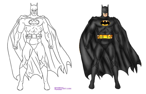 Superman Chest Drawing Draw Batman Steps 5-6